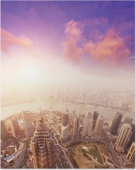 cityscape of shanghai, misty and cloudy Poster