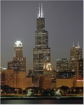 Poster Cityscape van Chicago en schroeit toren