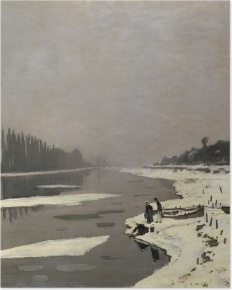 Poster Claude Monet - Glaçons sur la Seine à Bougival - Reproductions
