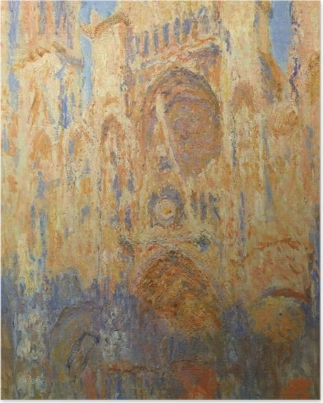 Poster Claude Monet - La Cathédrale de Rouen, façade, soleil couchant - Reproductions