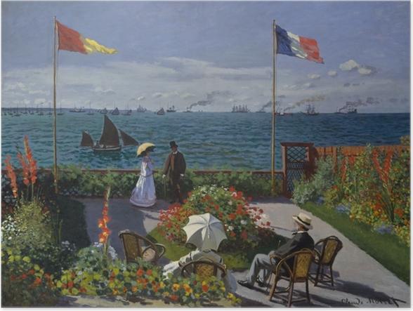 Póster Claude Monet - La terraza en Sainte-Adresse - Reproducciones