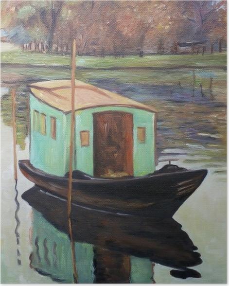 Poster Claude Monet - Le Bateau-atelier - Reproductions