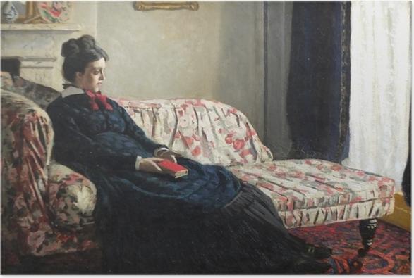 Póster Claude Monet - Meditación, o señora Monet en el sofá - Reproducciones