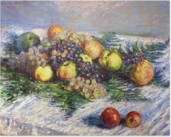Poster Claude Monet - Stilleven met peren en druiven