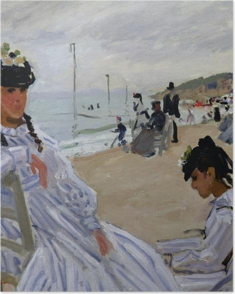 Poster Claude Monet - Sur la plage à Trouville - Reproductions
