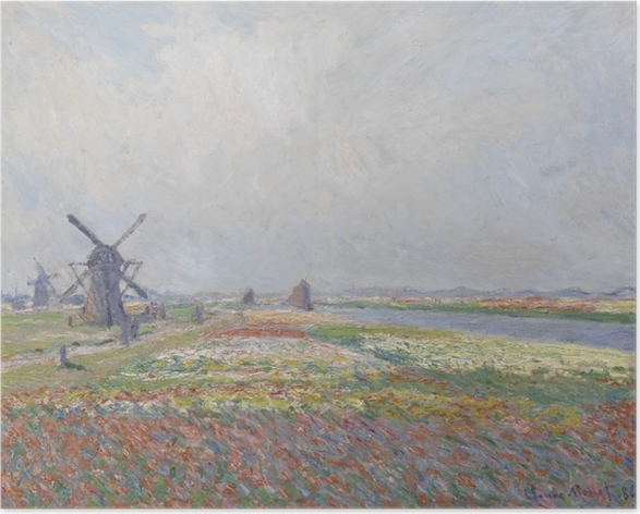 Claude Monet - Tulip Fields with the Rijnsburg Windmill Poster - Reproductions
