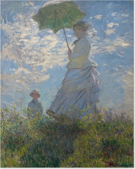 Poster Claude Monet - Vrouw met parasol gedraaid naar rechts - Reproducties
