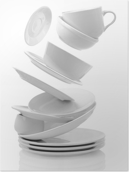Clean empty plates and cups isolated on white Poster