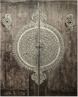 Poster Close-up beeld van oude deuren