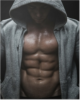 Close up of muscular sports man after weights training Poster