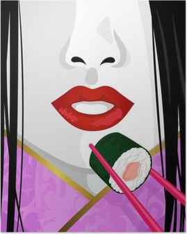 close up on face of Japanese woman eating sushi Poster