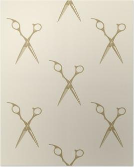Póster Colección de etiquetas patrón de tijeras azulejo de fondo sin fisuras barbería vendimia símbolo emblema