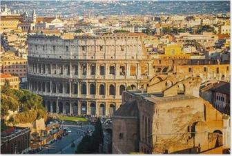 Poster Colisée au coucher du soleil