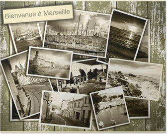 collage views of Marseille, black and white photos on a wooden b Poster