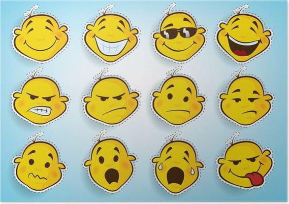 Collection Of Cute Faces In Different Facial Expressions Poster