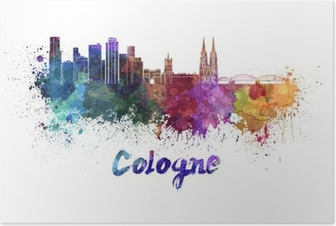 Cologne skyline in watercolor Poster