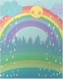 Póster Color de fondo con un arco iris, lluvia, sol en el estilo de dibujos animados