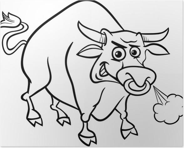 Póster Colorear los animales de granja toro • Pixers® - Vivimos para ...