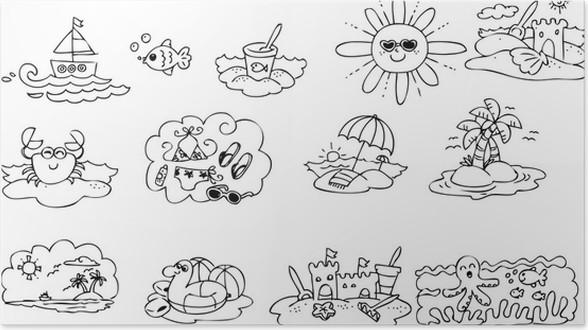 Póster Colorear los elementos de verano para niños • Pixers ...