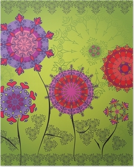 Colored mandala flowers on a green background Poster