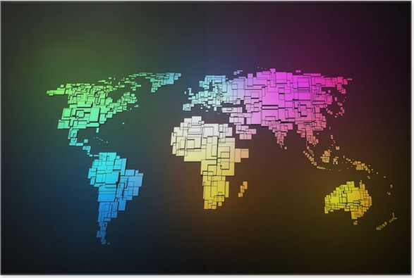 Colored neon map of the world hand sketch design poster pixers colored neon map of the world hand sketch design poster styles gumiabroncs Images