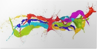 Colored paint splashes isolated on white background Poster