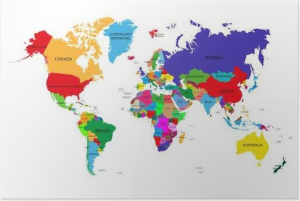 Colored political world map with names of sovereign countries and colored political world map with names of sovereign countries and larger dependent territories different colors for each countries poster gumiabroncs Image collections