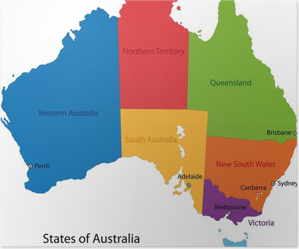 Colorful australia map poster pixers we live to change colorful australia map poster themes gumiabroncs Gallery