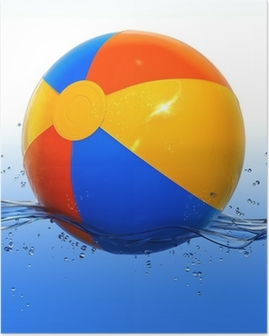 Colorful beach ball floating in water Poster