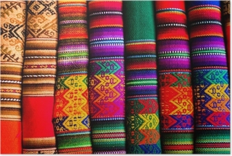 Colorful Fabric at market in Peru, South America Poster