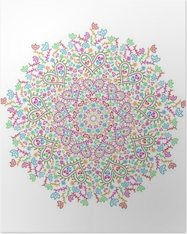 Colorful Mandala Element with Heart and Flower Silhouettes Poster
