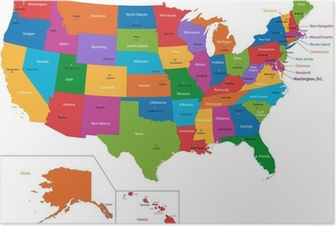 Colorful USA map with states and capital cities Poster