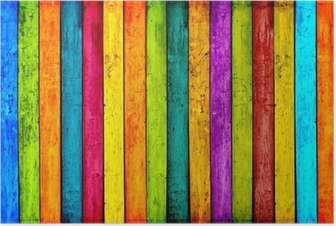 Colorful Wood Planks Background Poster