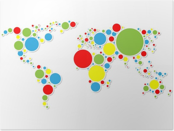 Colorful world map poster pixers we live to change colorful world map poster outer space gumiabroncs Image collections
