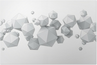 Composition of icosahedron for graphic design Poster