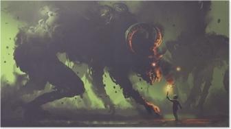 Poster Concept fantastique sombre montrant le garçon avec une torche face à des monstres de fumée avec des cornes de démon, style art numérique, illustration peinture