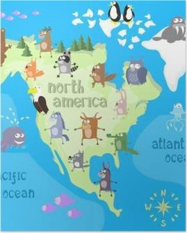 Poster Concept ontwerp kaart van Noord-Amerikaanse continent met dieren tekening in grappige cartoon stijl voor kinderen en voorschoolse educatie. vector illustratie