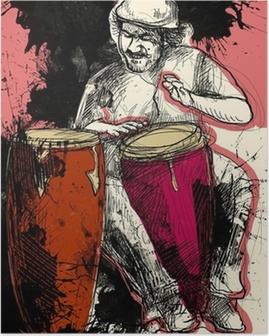 Poster Conga-speler - een hand getekende illustratie van de grunge