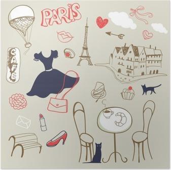 Póster Conjunto de la mano dibujado símbolos de París