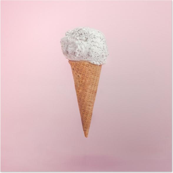 Póster Cono de helado en el fondo de color rosa -