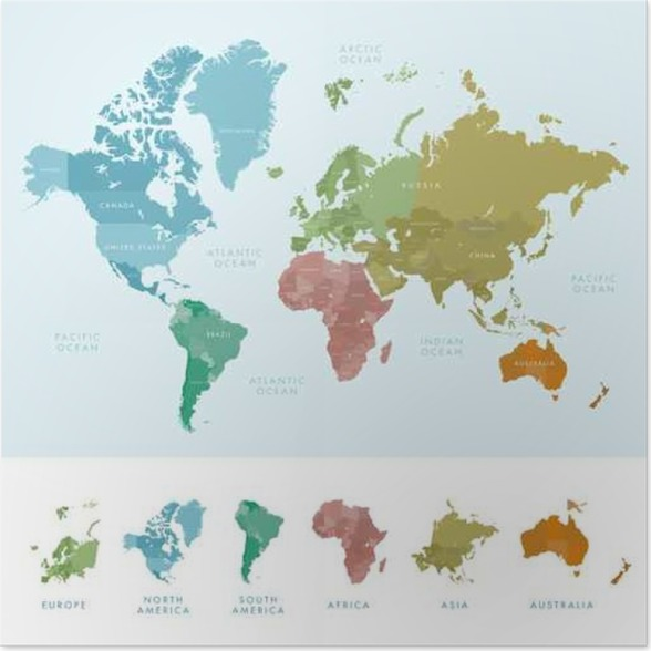 Continents and countries on the world map marked colored highly continents and countries on the world map marked colored highly detailed world map vector illustration poster gumiabroncs Gallery