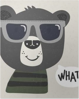cool cartoon bear with sunglasses Poster
