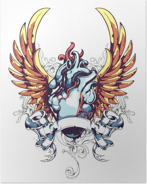 Póster Corazón anatómico con alas • Pixers® - Vivimos para cambiar