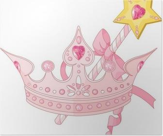 Póster Corona de la princesa y la varita mágica
