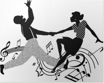 Poster Couple dansant le rock and roll en noir et blanc