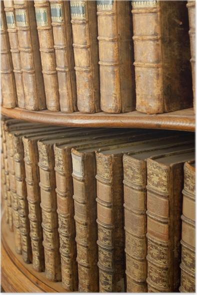 Poster Covers van oude middeleeuwse literaire boeken op de planken ...