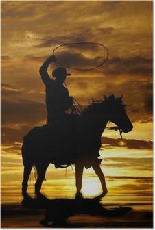 Poster Cowboy swingende touw op paard in het water