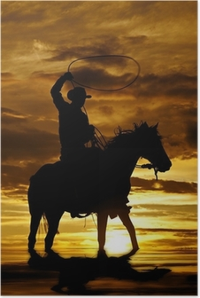 Cowboy swinging rope on horse in water Poster
