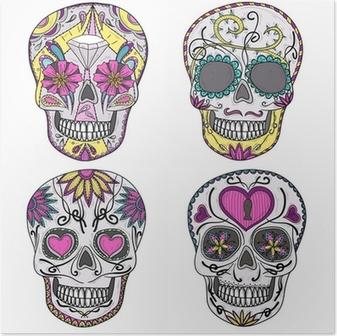 Poster Crâne mexicain réglée. Crânes colorés avec des fleurs et coeur ornementation