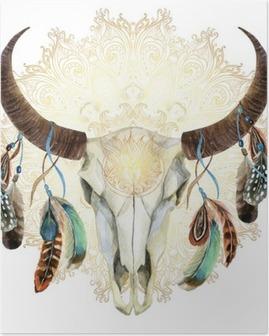 Póster Cráneo de la vaca de la acuarela con las plumas